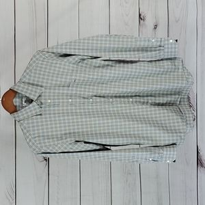 Lacoste•40 button up plaid with pocket tan/blue